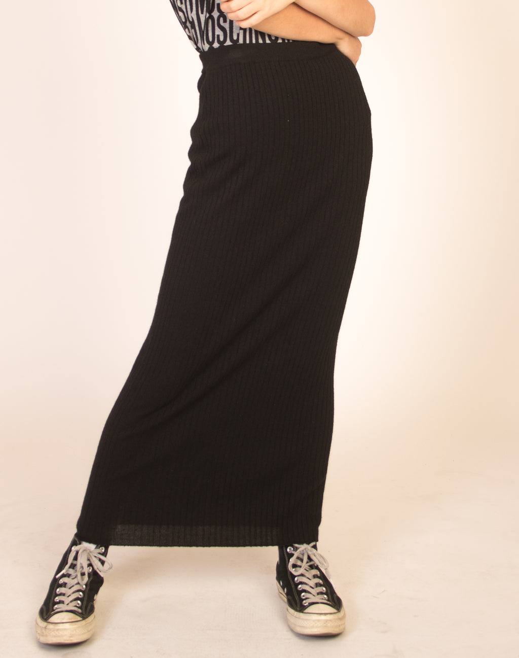BLACK RIBBED WOOL MAXI SKIRT