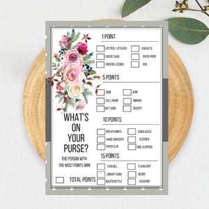 FREE PRINTABLE Frosty Rose Baby Shower Game What's in your Purse
