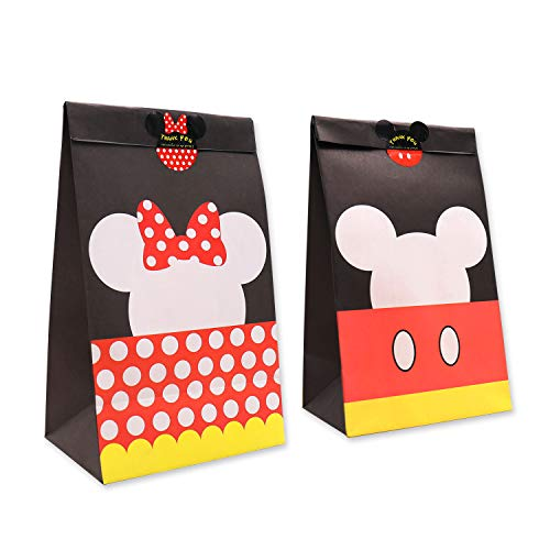 Goodie Candy Treat Bags Birthday Mickey Minnie Inspired Party Favor Supplies Set of 24,with Thank You Stickers - partylovin