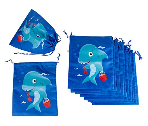 Drawstring Bags - 12-Pack Party Favor Bag for Kids Birthday, Baby Shower - Giveaway Gift Bags, Goodie Bags, Treat Bags Party Supplies for Boys and Girls, Blue Shark, 10 x 12 Inches - partylovin