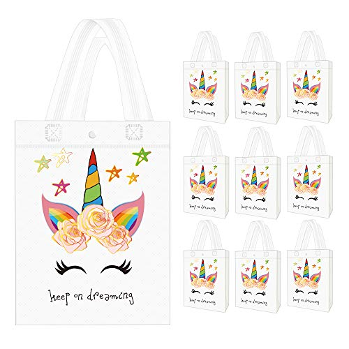 10 Pack Unicorn Party Favor Gift Bags with Dreamlike Unicorn Design - Reusable Gift Tote Bags, Goodie Gift Toy Treat bags for Kids Unicorn Themed Birthday Party, Baby Shower - partylovin