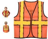 kedudes Kids Dress Up Construction Set - 6 Construction Worker Vest with 6 Construction Worker Soft Plastic Construction Helmets Hat - partylovin