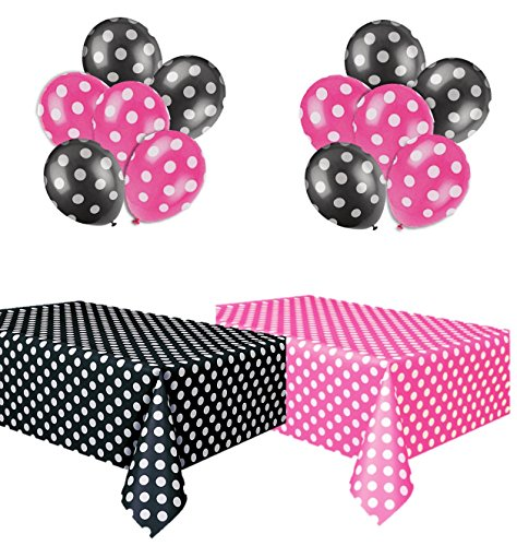 kedudes Polka Dot Plastic Tablecloth Hot Pink & White and Black & White, and Two Packages of Polkadot Balloons - partylovin