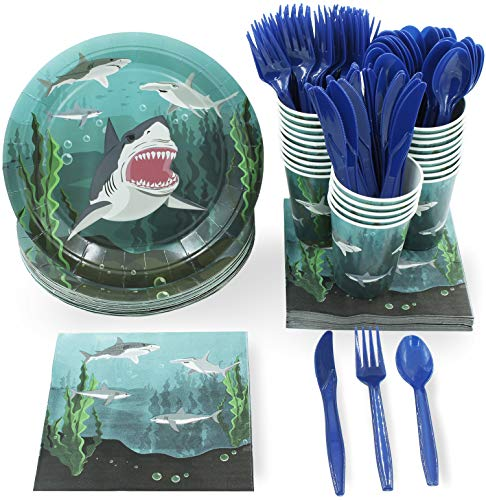 Juvale Shark Party Supplies – Serves 24 – Includes Plates, Knives, Spoons, Forks, Cups and Napkins. Perfect Shark Birthday Party Pack for Kids Ocean, Nautical and Shark Themed Parties - partylovin