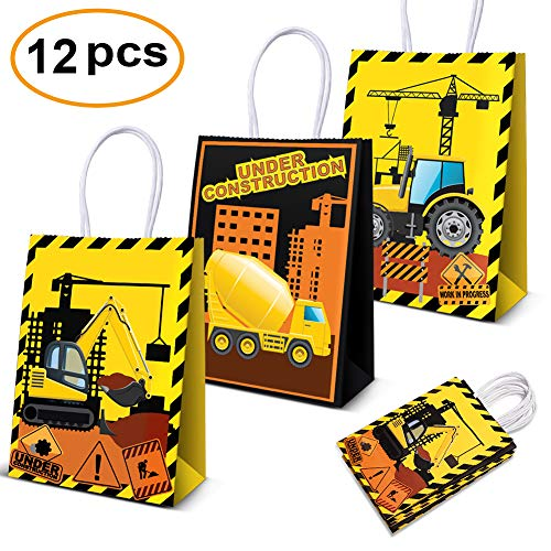 12 Pcs Construction Party Favor Bags For Construction Birthday Party Supplies Decorations, Construction Vehicle Zone Treat Goodie Bags - partylovin