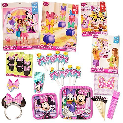Disney Minnie Mouse Party Supplies Ultimate Set (108 Pieces) -- Party Favors, Birthday Party Decorations, Plates, Cups, Napkins, Minnie Mouse Ears and More! - partylovin