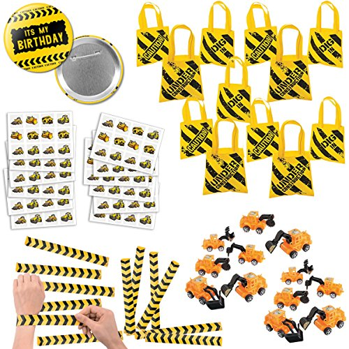 RBBZ party 108 Piece Construction Favors Party Supplies Pack Birthday Bundle for 12 kids - partylovin