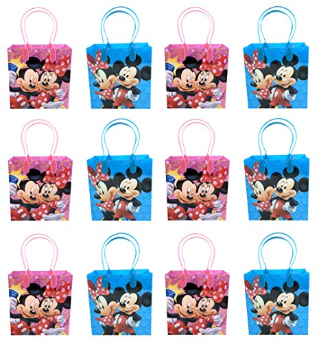 Disney Mickey and Minnie Mouse Character 12 Premium Quality Party Favor Reusable Goodie Small Gift Bags - partylovin