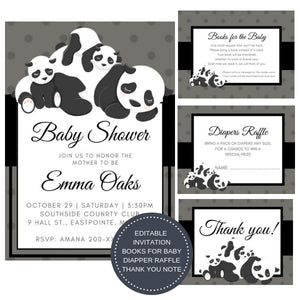 Baby Panda I Baby Shower Invitation Package - INVITATION+BOOKS FOR BABY+DIAPER RAFFLE - partylovin