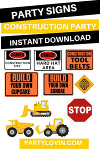 CONSTRUCTION Birthday Party Bundle  Printables - partylovin