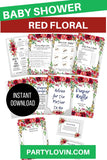 BABY SHOWER BUNDLE Red Floral Baby Shower Package It's a  Girl - partylovin