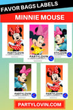Minnie Mouse Birthday Party Favors Box Stickers I  Gift Bag Labels Instant Download - partylovin