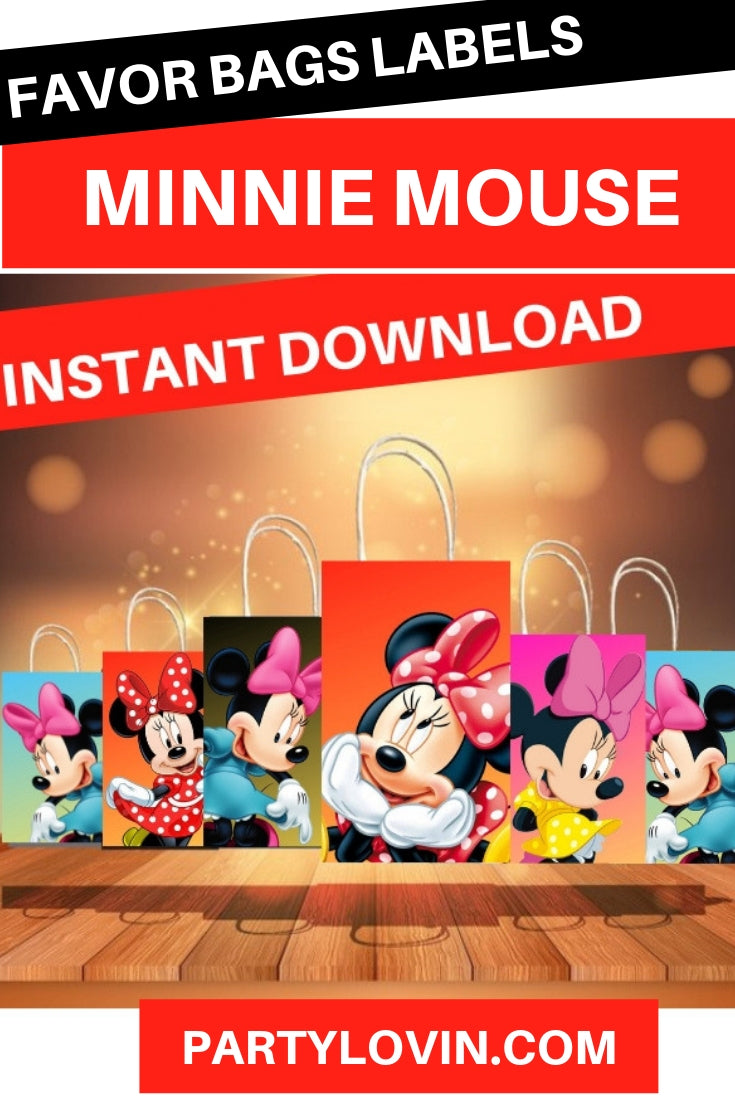 Minnie Mouse Birthday Party Favors Box Stickers I Gift Bag Labels Instant Download