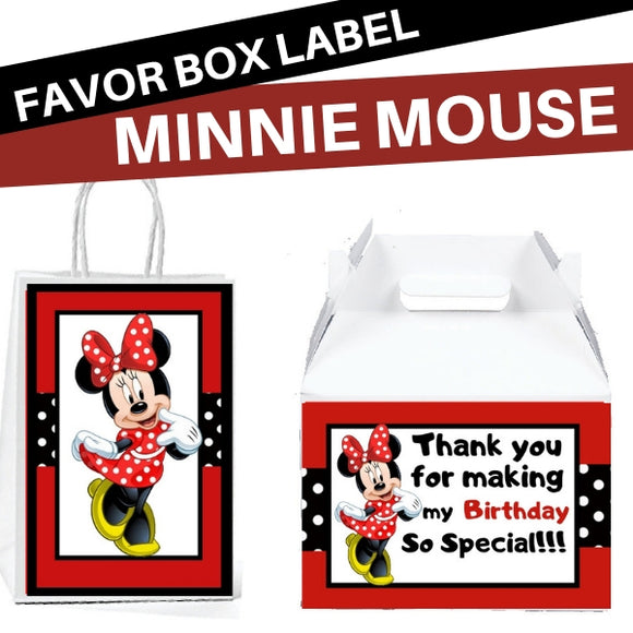 Gable Box Minnie Mouse Birthday Favors Box Stickers & Gift Bag Labels - partylovin