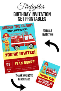 Firefighter Birthday Invitation Set Printable - partylovin