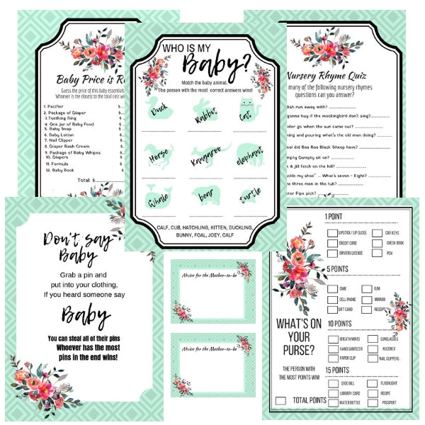 Floral Winter Baby Shower Package Printable I What's in your Purse I Nursery Rhymes Games I Advice for the Mother to Be Cards - Instant Download - partylovin