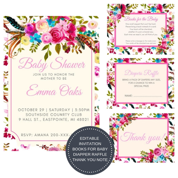 Boho Chic I Baby Shower Invitation Package - INVITATION+BOOKS FOR BABY+DIAPER RAFFLE - partylovin