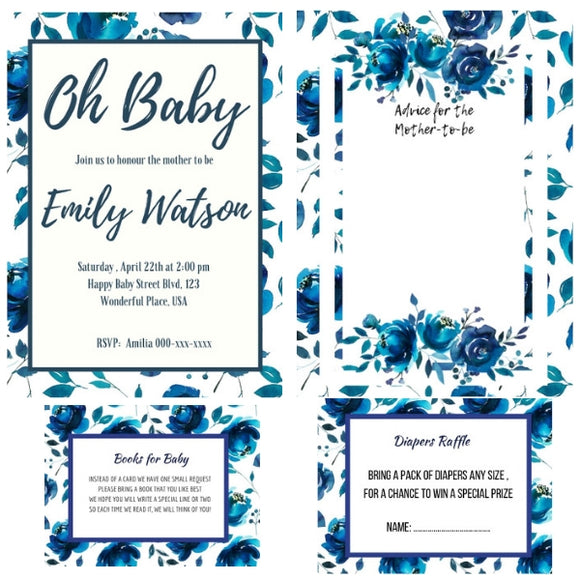 Blue Floral Baby Shower Invitation Package - INVITATION+BOOKS FOR BABY+DIAPER RAFFLE + ADVICE FOR MOTHER - partylovin
