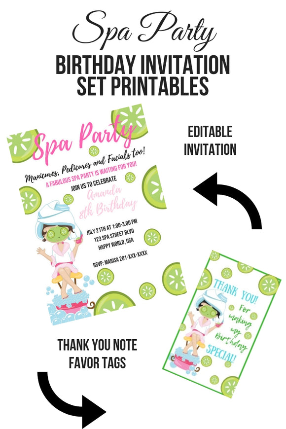 Spa Party Birthday Invitation Set Printable - partylovin
