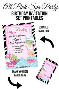 All Pink Spa Party Birthday Invitation Set Printable - partylovin