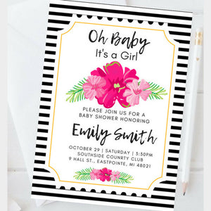 Black & White Floral Baby Shower Invitation Package - INVITATION+BOOKS FOR BABY+DIAPER RAFFLE + ADVICE FOR MOTHER + PLANNER - partylovin