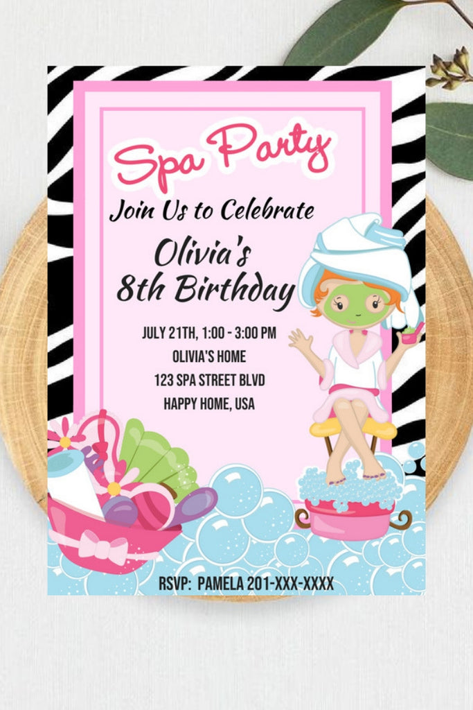 All Pink Spa Party Birthday Invitation Set Printable