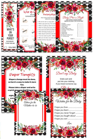 Love Red Poem Baby Shower Package Printables + BABY SHOWER PLANNER - partylovin