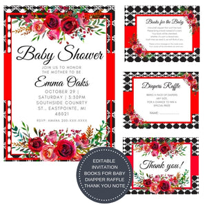Love Red Poem I Baby Shower Invitation Package - INVITATION+BOOKS FOR BABY+DIAPER RAFFLE - partylovin