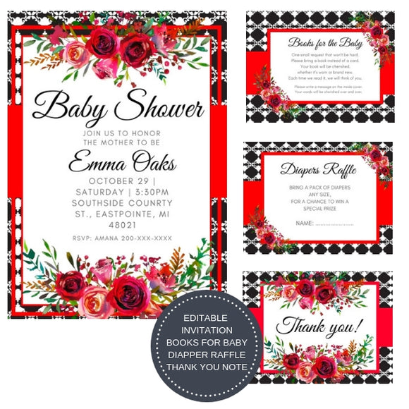 Love Red Poem I Baby Shower Invitation Package - INVITATION+BOOKS FOR BABY+DIAPER RAFFLE + THANK YOU CARD + PLANNER + GAMES - partylovin