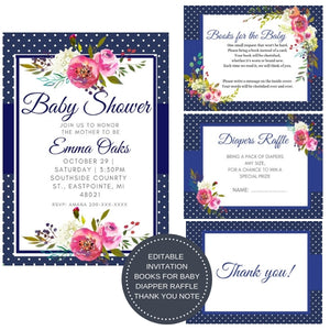 Blue Blush I Baby Shower Invitation Package - INVITATION+BOOKS FOR BABY+DIAPER RAFFLE - partylovin