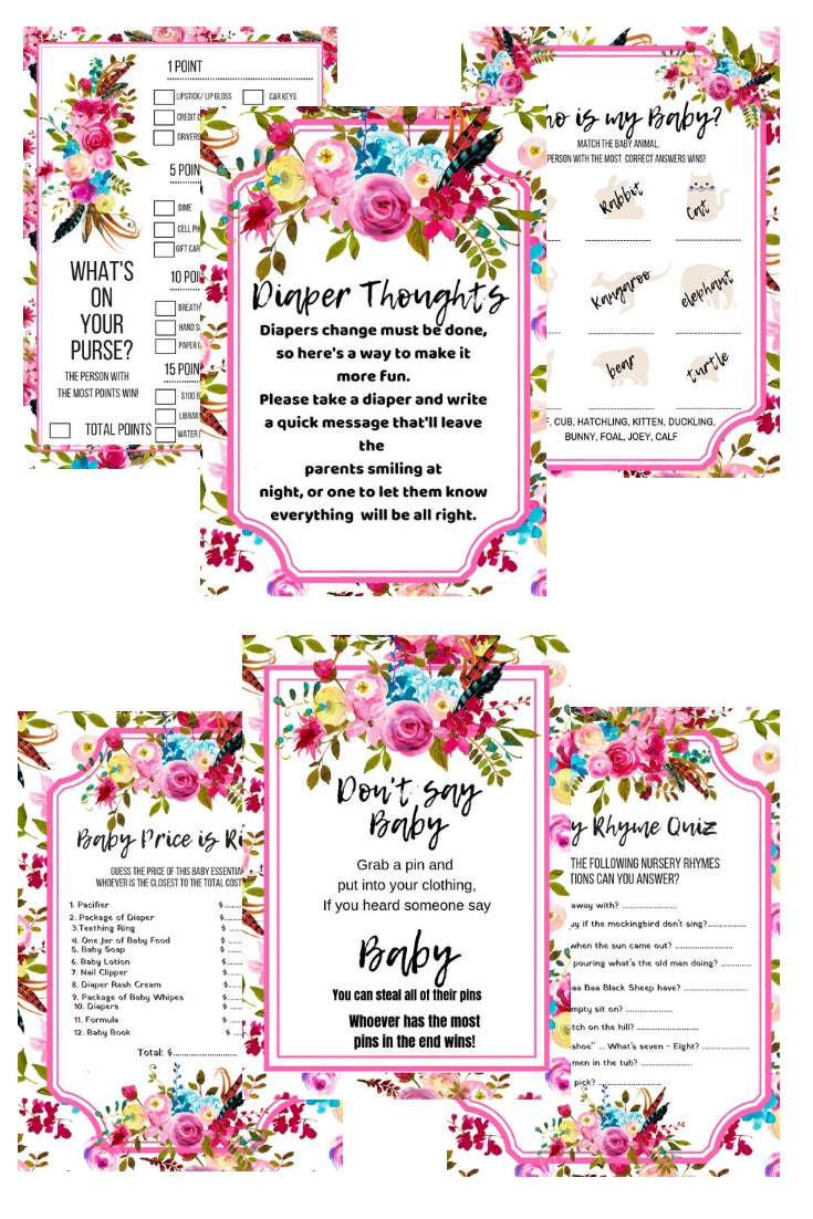 Boho Chic Baby Shower Package Printables + BABY SHOWER PLANNER - partylovin