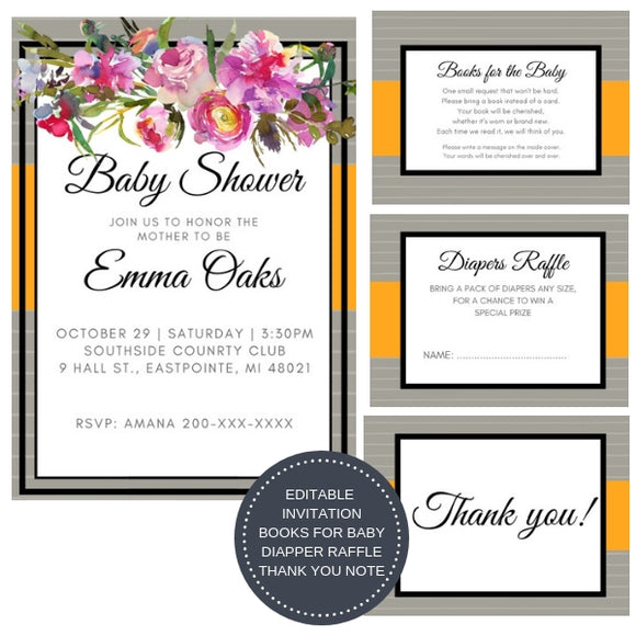 Frosty Peony I Baby Shower Invitation Package - INVITATION+BOOKS FOR BABY+DIAPER RAFFLE - partylovin