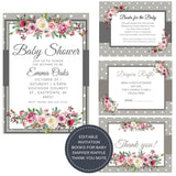 Frosty Rose I Baby Shower Invitation Package - INVITATION+BOOKS FOR BABY+DIAPER RAFFLE - partylovin