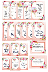 Premium Hot Air Ballon Floral Baby Shower Package Printables + BABY SHOWER PLANNER - partylovin
