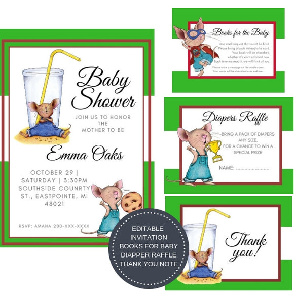 If you Give a Mouse a Cookie I Baby Shower Invitation Package - INVITATION+BOOKS FOR BABY+DIAPER RAFFLE + THANK YOU CARD + PLANNER + GAMES - partylovin