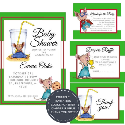 If you Give a Mouse a Cookie I Baby Shower Invitation Package - INVITATION+BOOKS FOR BABY+DIAPER RAFFLE - partylovin