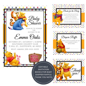 Winnie the Pooh I Baby Shower Invitation Package - INVITATION+BOOKS FOR BABY+DIAPER RAFFLE - partylovin