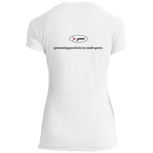 Load image into Gallery viewer, LST700 Sport-Tek Ladies' Performance T-Shirt BLACK font front and back