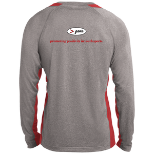 ST361LS Sport-Tek LS Heather Colorblock Poly T-Shirt.  Click to view in gray and red, gray and white, or gray and black.