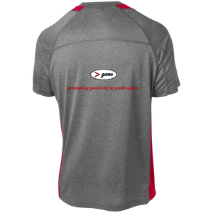 YST361 Sport-Tek Youth Colorblock Performance T-Shirt.  Click to view in gray and red or gray and black.