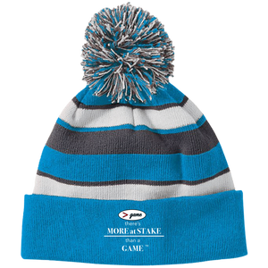 223835 Holloway Striped Beanie with Pom with white embroidery