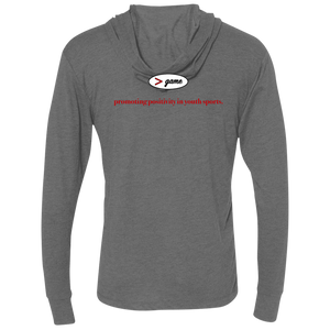 NL6021 Next Level Unisex Triblend LS Hooded T-Shirt.  Click to view in gray, black, or white.