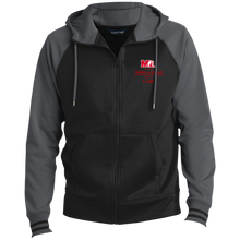 Load image into Gallery viewer, ST236 Sport-Tek Men's Sport-Wick® Full-Zip Hooded Jacket.  Click to view in gray and black or red and black.