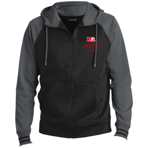 ST236 Sport-Tek Men's Sport-Wick® Full-Zip Hooded Jacket.  Click to view in gray and black or red and black.