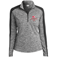 Load image into Gallery viewer, LST397 Sport-Tek Ladies' Electric Heather Colorblock 1/4-Zip Pullover.  Click to view in light or dark gray.