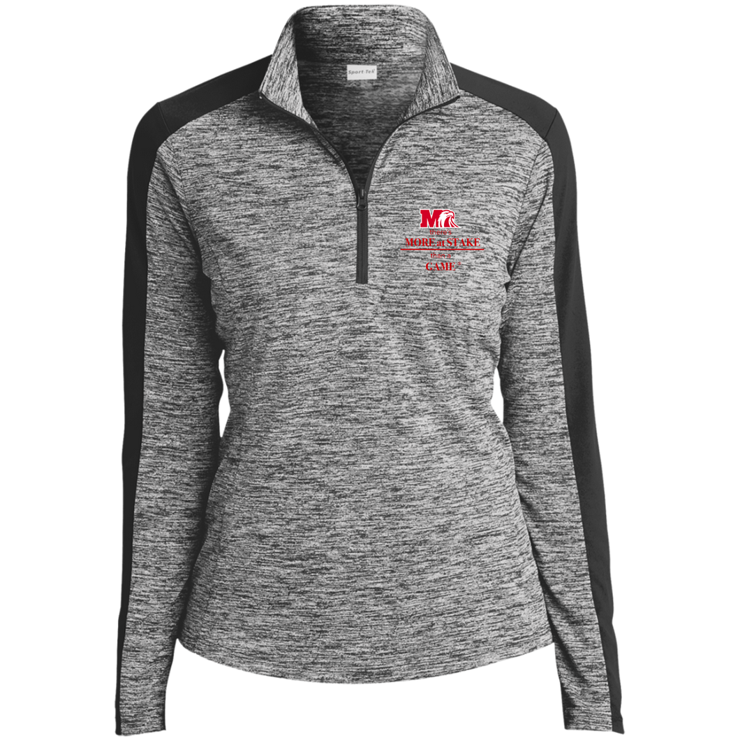 LST397 Sport-Tek Ladies' Electric Heather Colorblock 1/4-Zip Pullover.  Click to view in light or dark gray.