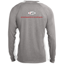 Load image into Gallery viewer, ST361LS Sport-Tek LS Heather Colorblock Poly T-Shirt.  Click to view in gray and red, gray and white, or gray and black.