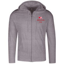Load image into Gallery viewer, DT1100 District Lightweight Full Zip Hoodie.  Click to view in black or gray.
