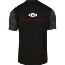 Load image into Gallery viewer, ST371 Sport-Tek CamoHex Colorblock T-Shirt.  Click to view in black and red or black and gray.