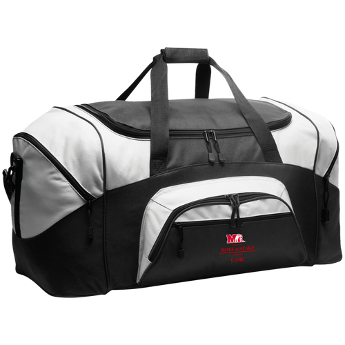 BG99 Port & Co. Colorblock Sport Duffel.  Click to view color variations in gray, black, or red..
